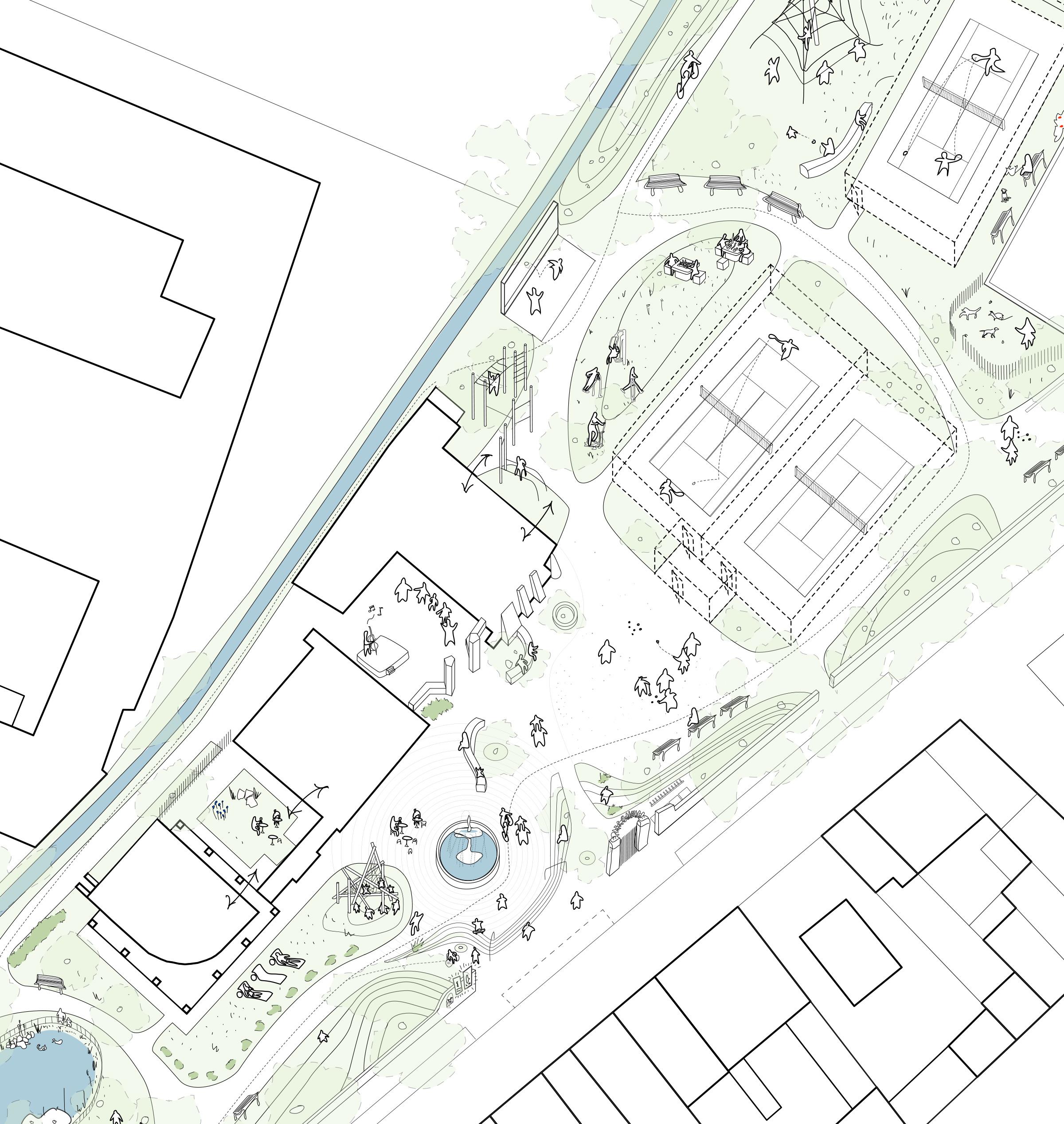Masterplan del Parque de Loriol, Francia, desarrollado por el autor junto con el colectivo Bazar Urbain y De l'Aire. Foto del autor, 2015.