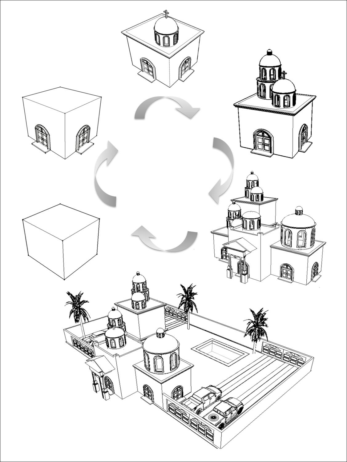 Ilustración de la evolución del diseño narco, desde el cubo módulo básico cristalizado en la tumba hasta la residencia. (Elaboración del autor).