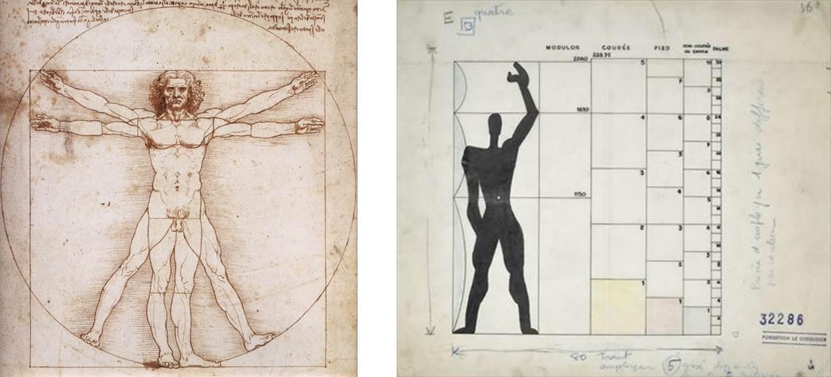 El hombre de Vitrubio y el modulor de Le Corbusier
