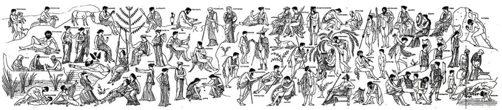 La Nekya de Polignoto. Reconstrucción según Carl Robert (1892) Die Nykia Des Polygnot. Halle.