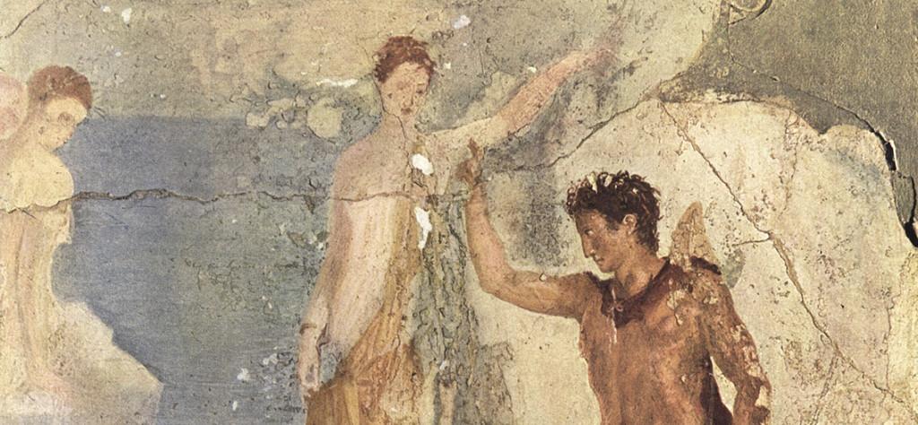 Perseo liberando a Andrómeda. Fresco. Mural de la casa Dioscuri (Pompeya), actualmente en el museo nacional de Nápoles. Maiuri (1953) Roman Painting. Génova: Skira.