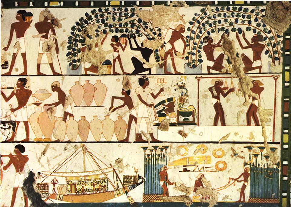 Mural pintado en tumba sin nombre en Tebas. Arpaq Mekbitarian (1954) Egiptian Painting. Génova: Skira.
