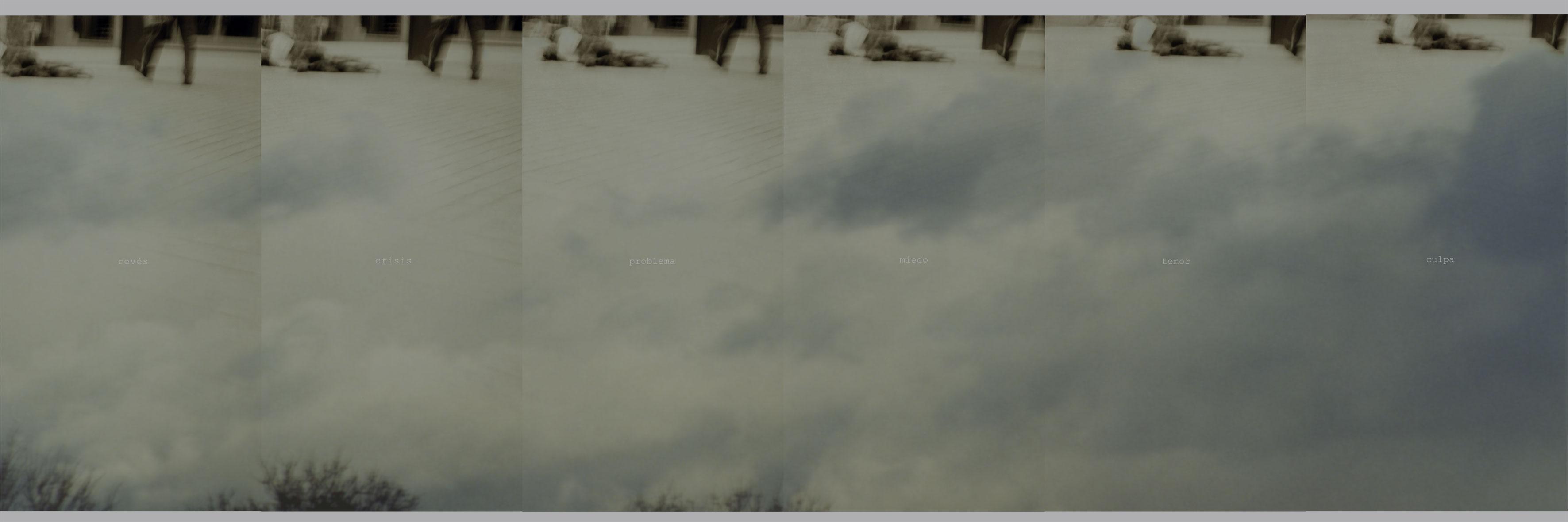 Anto Rabzas El Punto ciego/The waste city. 2006 Pieza 1: _revés_crisis_problema_miedo_temor_culpa_ Impresión digital zun-uvi sobre aluminio + blanco6 unidades de 200 x 100 conformando un políptico de 600 x 200 cm. montadas sobre estructura de tubo de acero de 60 x 60 a 12 cm,del suelo