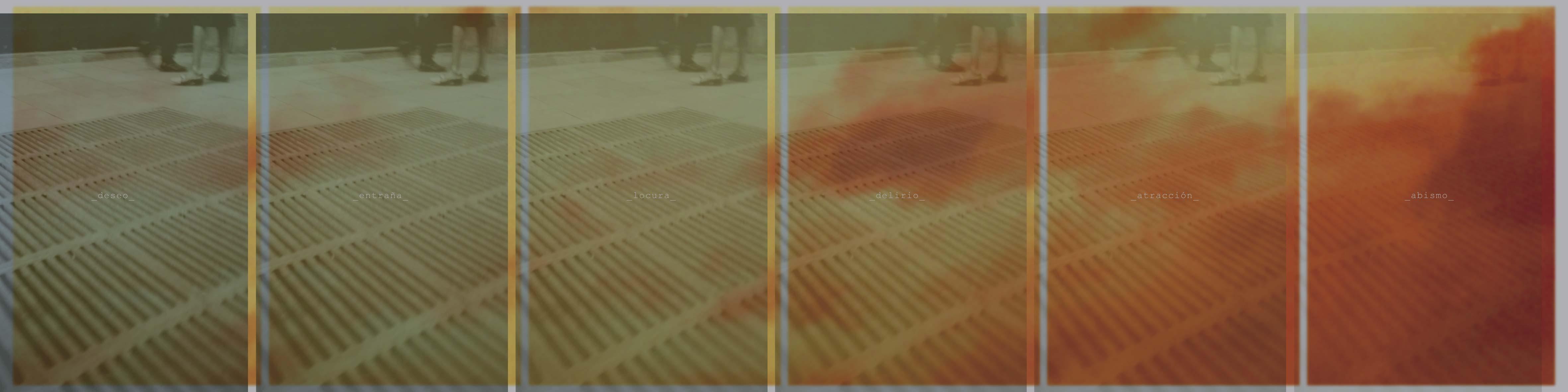 Anto Rabzas El Punto ciego/The waste city. 2006 Pieza 8: deseo_entraña_locura_delirio_atracción_abismo_ Impresión digital coor-jet sobre aluminio.1 unidad de 300 x 75 cm. montadas sobre estructura de tubo de acero de 60 x 60 a 12 cm,del suelo