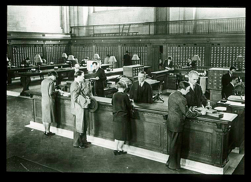 New York Public Library 1940's. Central Information Desk