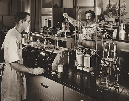 Researh Lab 1956. Rights: Southern Methodist University, Central University Libraries, DeGolyer Library