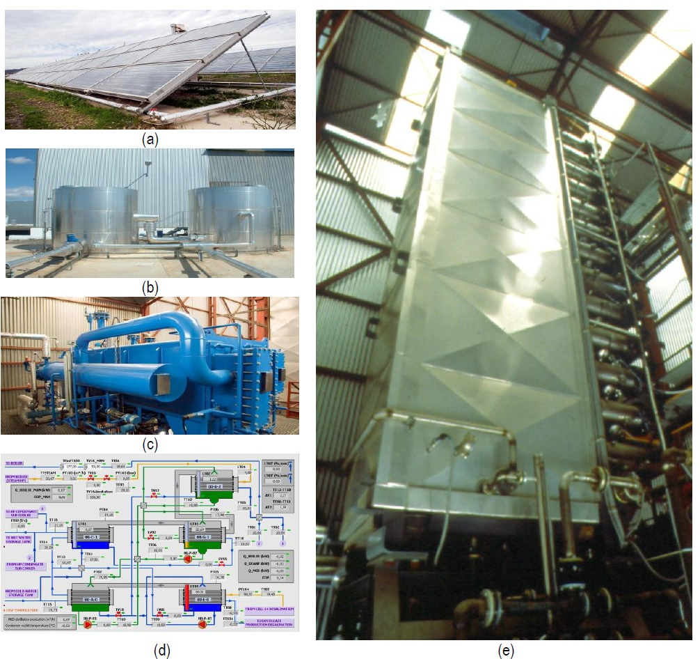 AQUASOL Solar desalination plant: (a) Solar field, (b) storage tanks and building of the solar desalination plant at PSA and (c) double effect heat pump (d) SCADA of the DEHP (e) MED desalination plant.