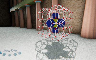 Teselación con rombicuboctaedros, cuboctaedros y cubos